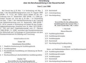 Verordnung über die Berufsausbildung in der Bauwirtschaft